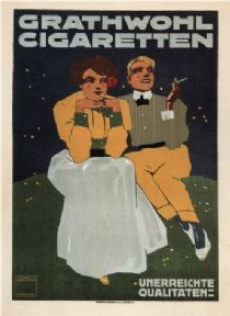 Vintage Grathwohl Cigaretten, German Advertising Poster